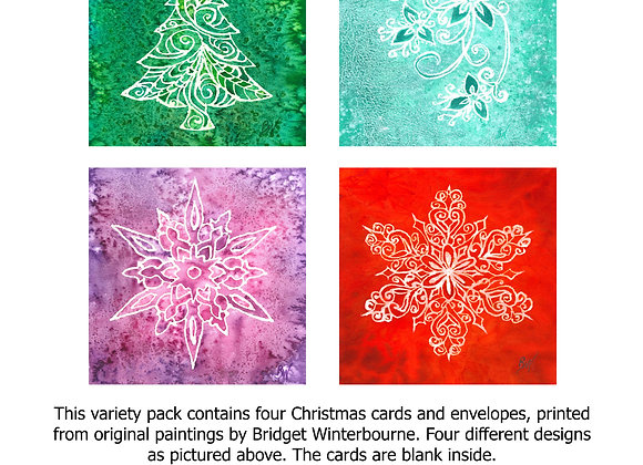 Christmas cards (4-pack, Emerald Tree)
