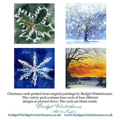 Christmas cards (4-pack, Holly)