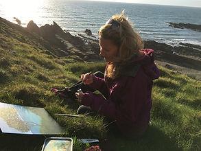 Bidget Winterbourne sketching on cliff d