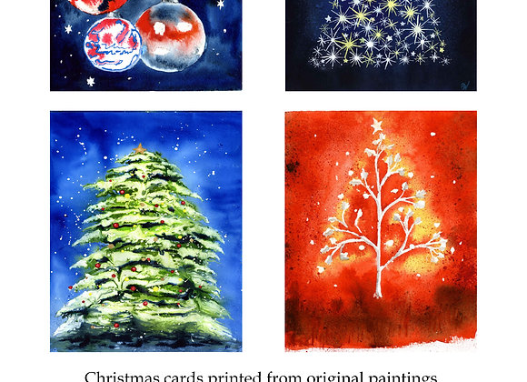 Christmas cards (4-pack, Christmas Baubles)