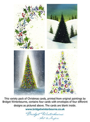 Christmas cards (4-pack, Berry Wreath)