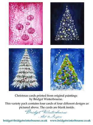 Christmas cards (4-pack, Pink Baubles)