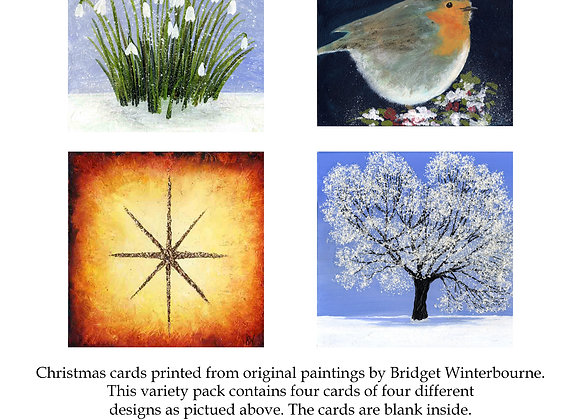 Christmas cards (4-pack, Snowdrops)