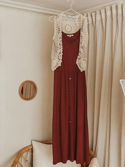 Kleid Rostbraun - ohne Ärmel