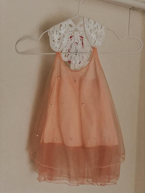 Mädchenkleid weiß/aprikot-rosa