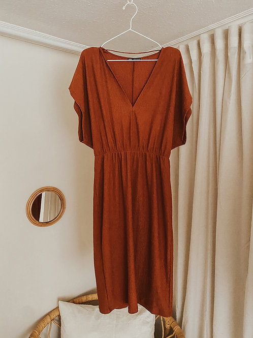 Kleid orange braun
