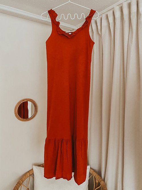 Ärmelloses Kleid rost/orange
