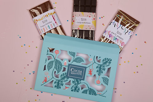 Birthday Chocolate Gift Box - 3 Celebratory Handmade Chocolate Bars