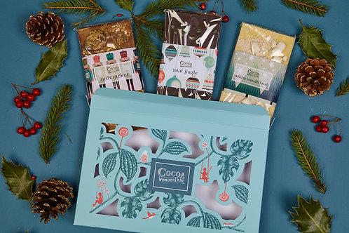 Christmas Chocolate Gift Box - 3 Festive Handmade Chocolate Bars