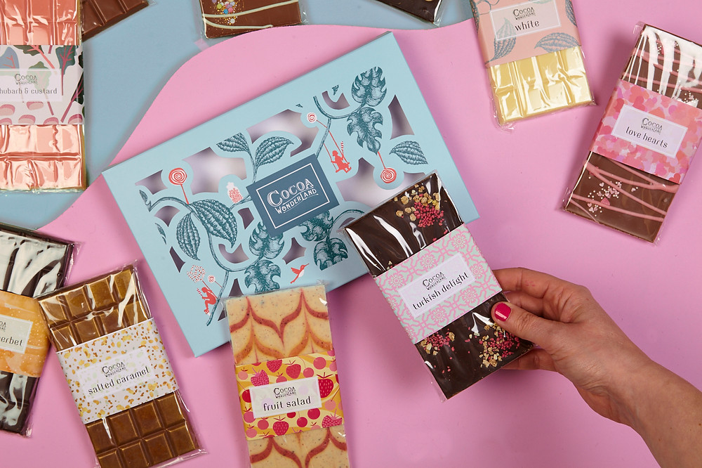 Choose your own personalised box of handmade chocolate bars