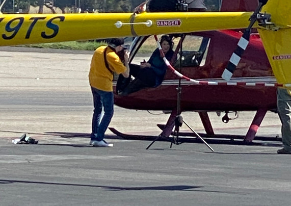 Producer / Director, Phyllis Stuart with photographer Moses Sparks on Tarmac Van Nuys airport.    Gisele Joves photo.