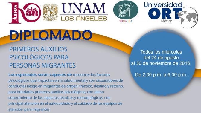 Culmina Diplomado en primeros auxilios psicológicos para personas migrantes en la UNAM-LA