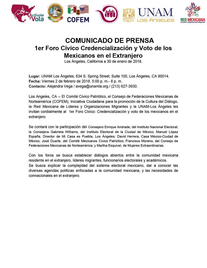 1er Foro Cívico Credencialización y Voto de los Mexicanos en el Extranjero