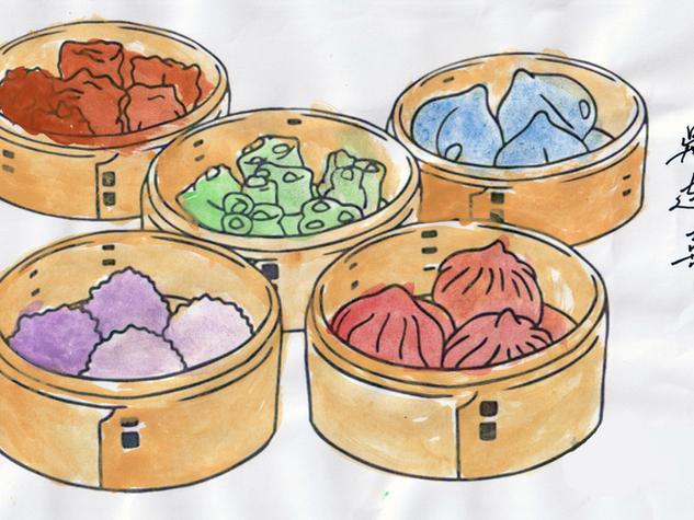 [Mdm Goh Lim Hee] Cute dim sums, watercolor paint on coloring template, 29.7cm x 21cm