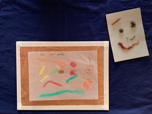 [Mdm Theresa Wan] Untitled, oil pastels, spices on a cardboard, A-3 tracing paper, July 2020