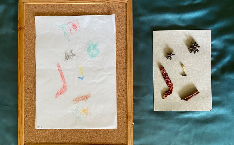 [Mdm How Sun Yoke] Untitled, pastel rubbing on tracing paper, 25cm x 12cm