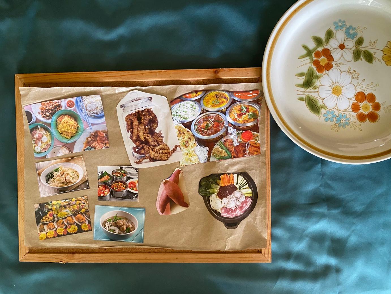 [Mdm Chan Yoke Heng] Untitled, collage on chicken rice paper, 29.7cm x 21cm