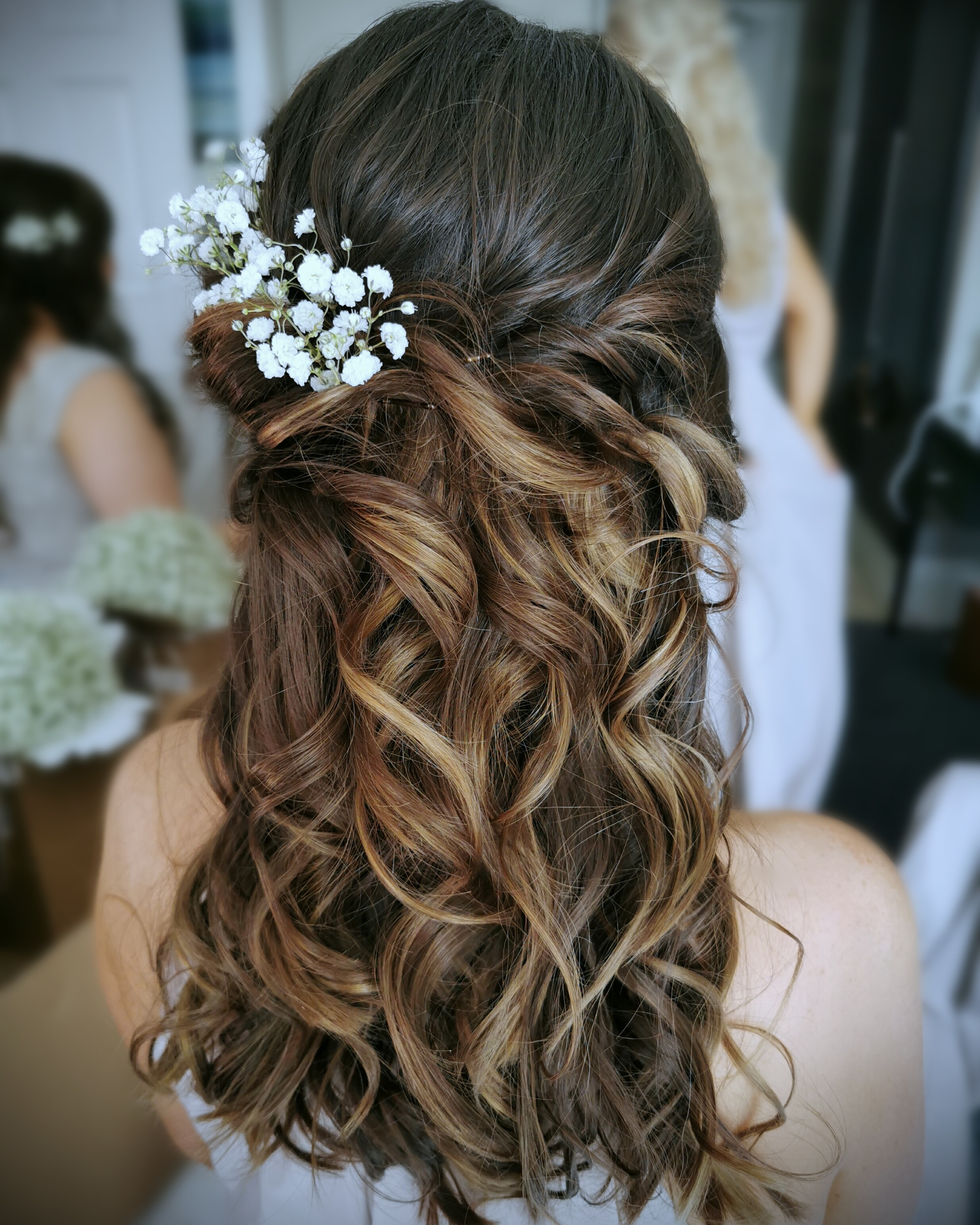 toussled bridesmaid hairstyle