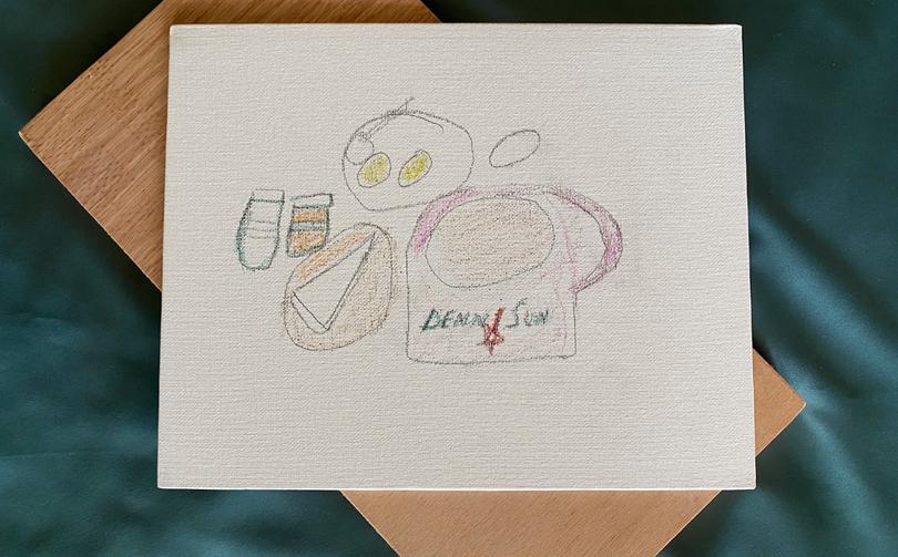 [Denn Sun] Denn Sun, crayon and pencil on canvas,, 29.7 X 21cm