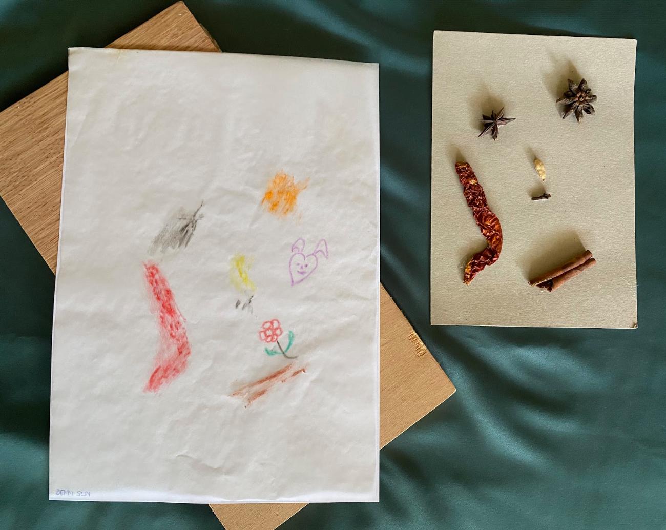 [Denn Sun] Untitled, pastel rubbing on tracing paper, 25cm x 12cm