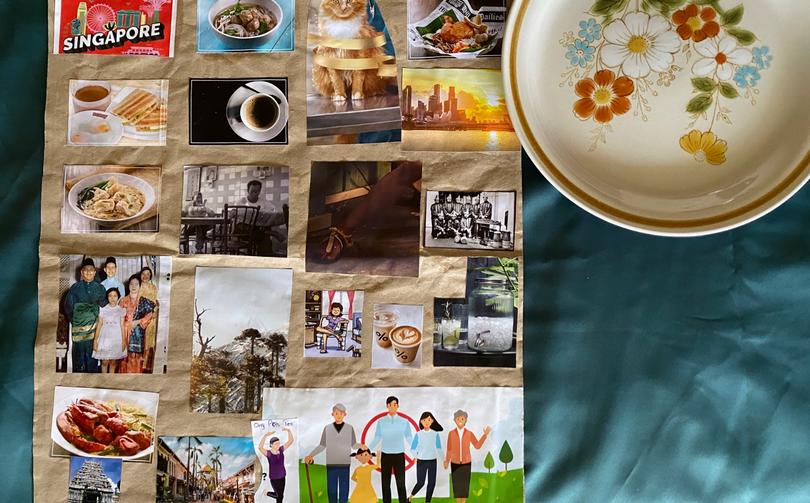 [Denn Sun] Collage, magazine images on chicken rice brown paper, 25cm x 12cm