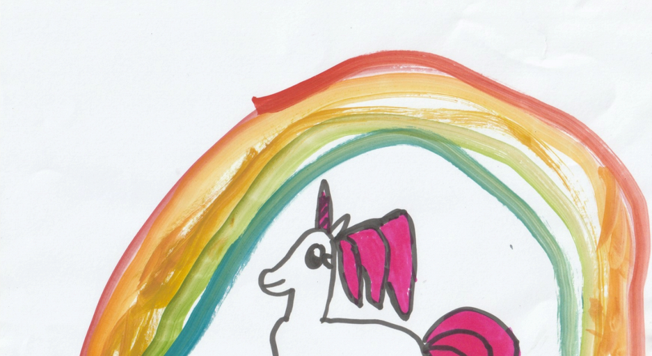 Emma, 7yo, Singapore  Inner self  Title: White and purple unicorns