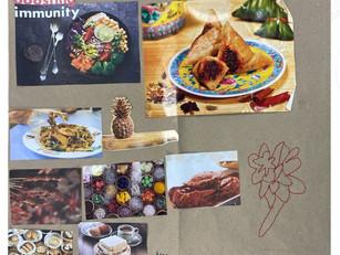 [Mdm Nancy Chia] Untitled, magazine collage on chicken rice paper, 22.0cm x 19.5cm