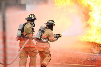 Overturned traincar fire