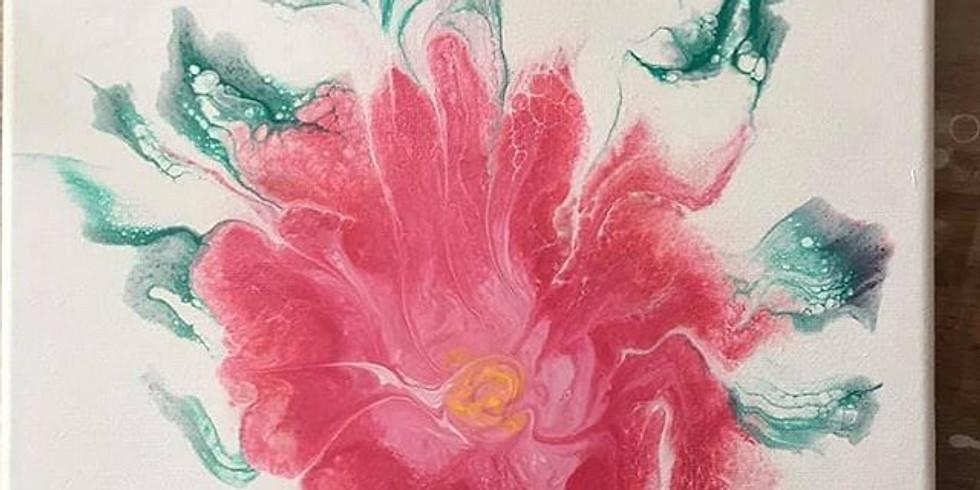 Reverse Dip, Flower Acrylic Pour (1)