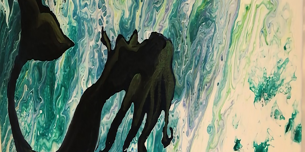 Cup to Canvas, 3 cup flip Acrylic Pour Mermaid