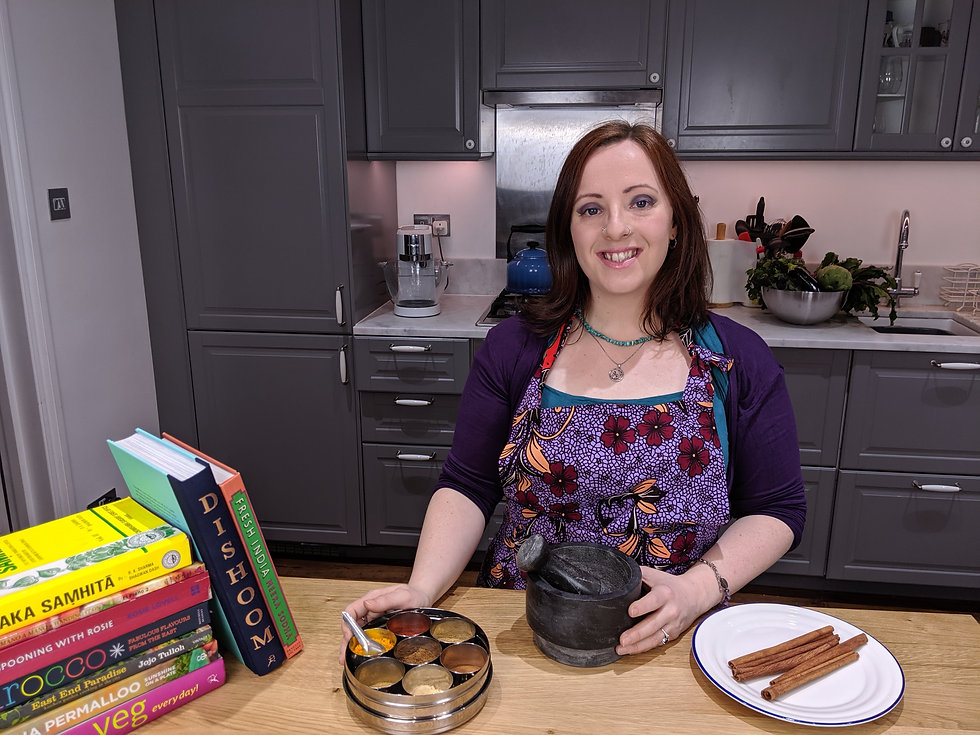 Ayurvedic practitioner and holstic chef Faith Warner from AyurLife UK cooking with Ayurvedic herbs and spices