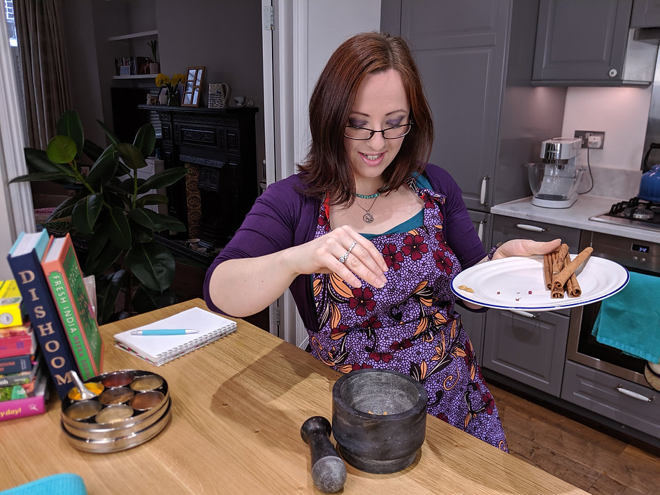 Ayurvedic Practitioner and Chef Faith Warner of AyurLife UK cooking with Ayurvedic spices