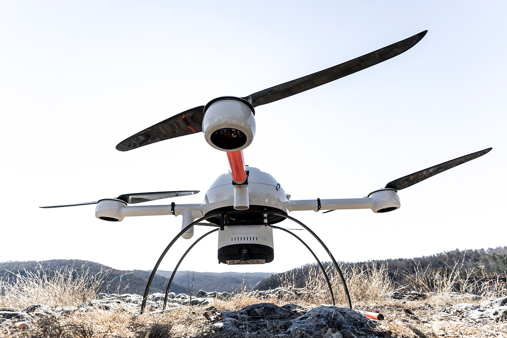 Drone with LiDAR payload attachment
