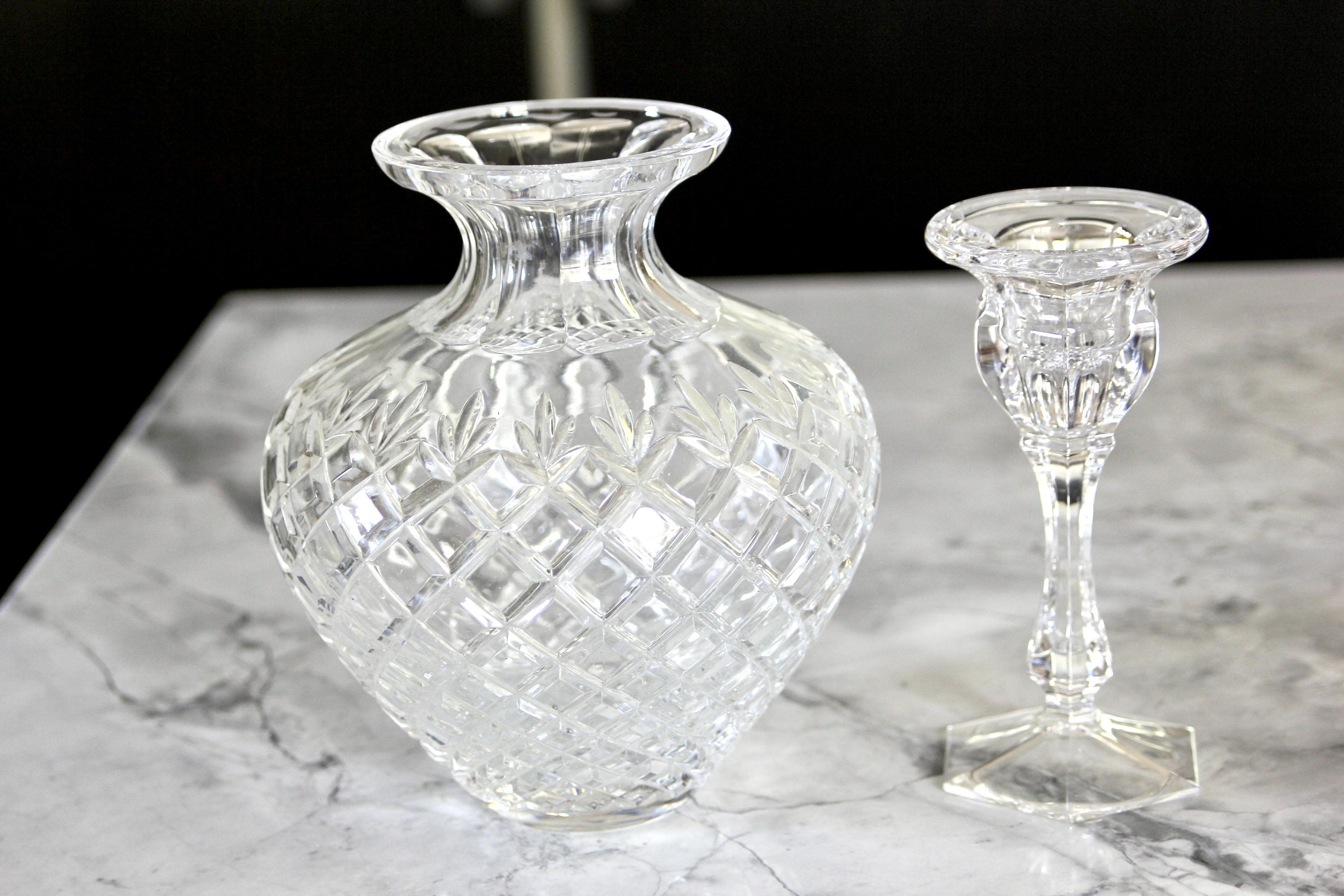 Crystal vase & candlestick