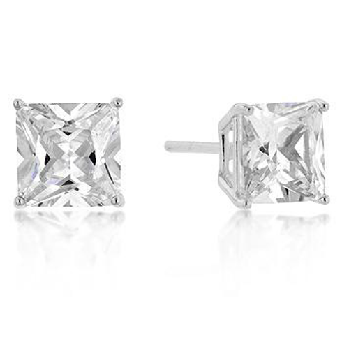 STERLING PRINCESS CUT CUBIC ZIRCONIA STUDS SILVER