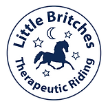 Little Britches logo;  navy blue horse surrounded by four stars and a crescent moon