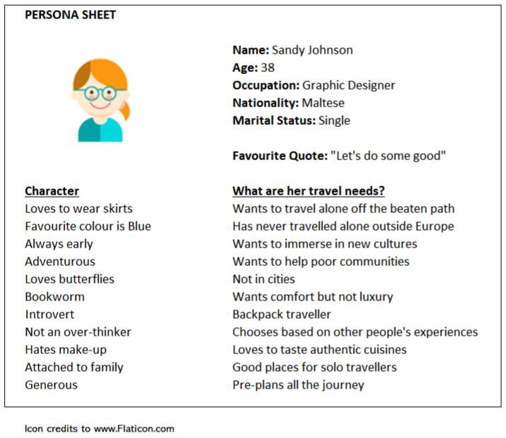 Design Thinking Malta | TinkTings | Persona Sheet