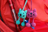Blue and Pink hand made key chain soft toys bought from WSDP Pokhara, Nepal