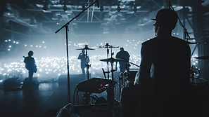 Music band group silhouette perform on a