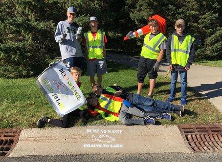 Local Boy Scouts Spray Paint for Lake Health