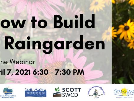 How to Build a Raingarden Webinar April 7th