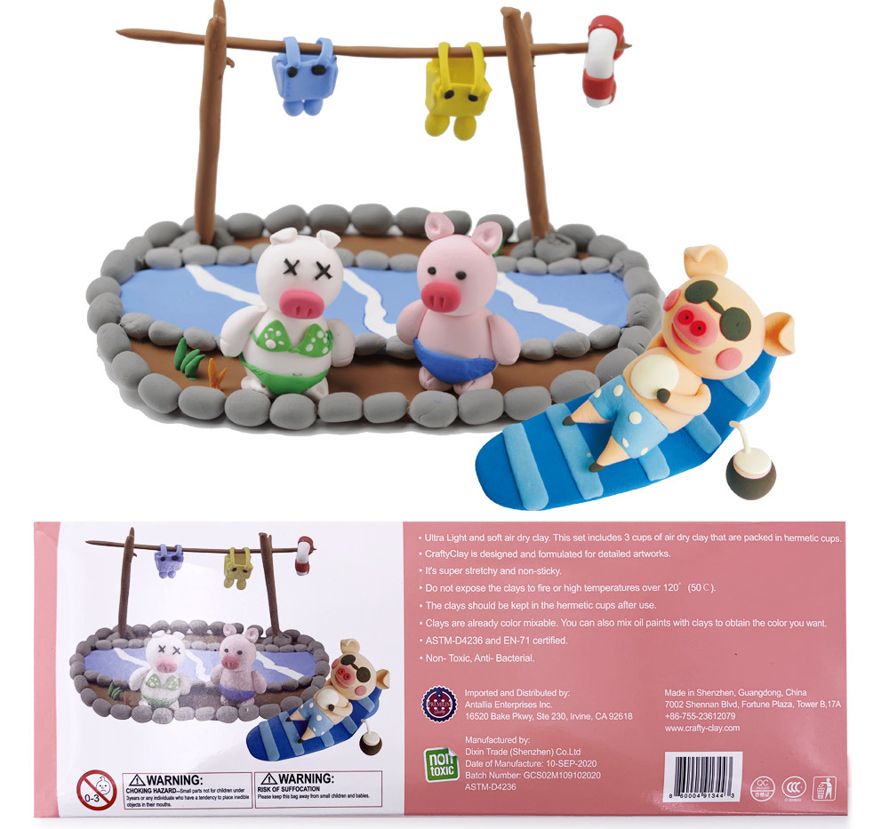 PIGS' PERFECT HOLIDAY Air Dry Modeling Clays by CRAFTYCLAY
