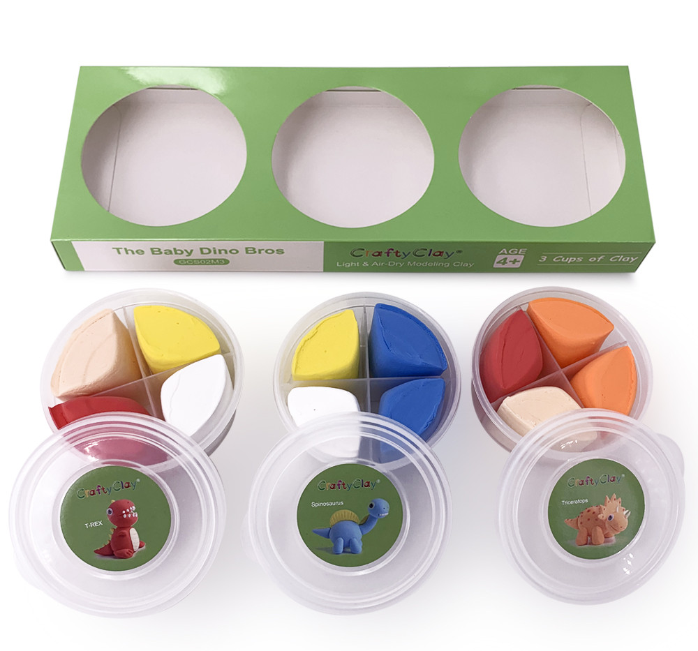 The BABY DINO BROS Air Dry Modeling Clays bu Genova Art CRAFTY CLAY
