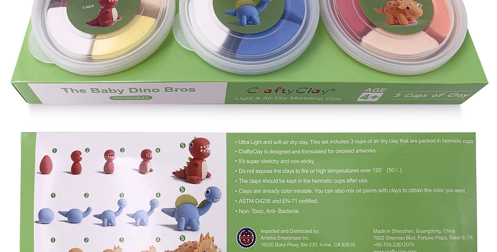 The Dino Bros Air Dry Modeling Clay Set