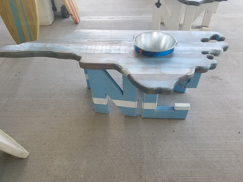 State Table - NC - Carolina Blue legs with White stripe, Stain, Blue, White top