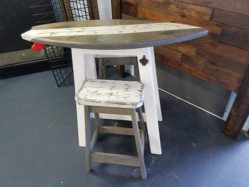 Surfboard Bar - 4ft- Distressed Gray Top White Diagonal Stripe - 2 Stools