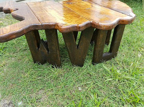 State Table - WV - Medium stain WV shaped top with Dark stain WVU legs