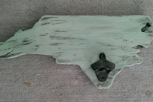 Bottle Opener - State - NC - Sea Foam and White