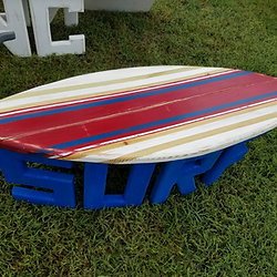 Surfboard Table   4 Ft   Red, White, And Blue Stripes With Blue Legs ...