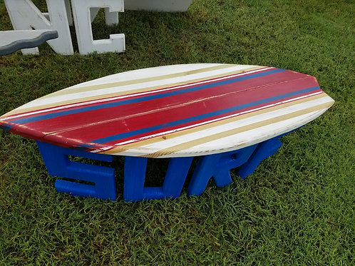 Surfboard Table - 4 ft -  Red, white, and blue stripes with blue legs